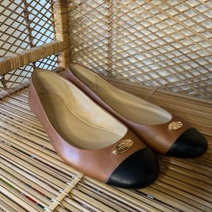 Coach brown and black leather ballet flats